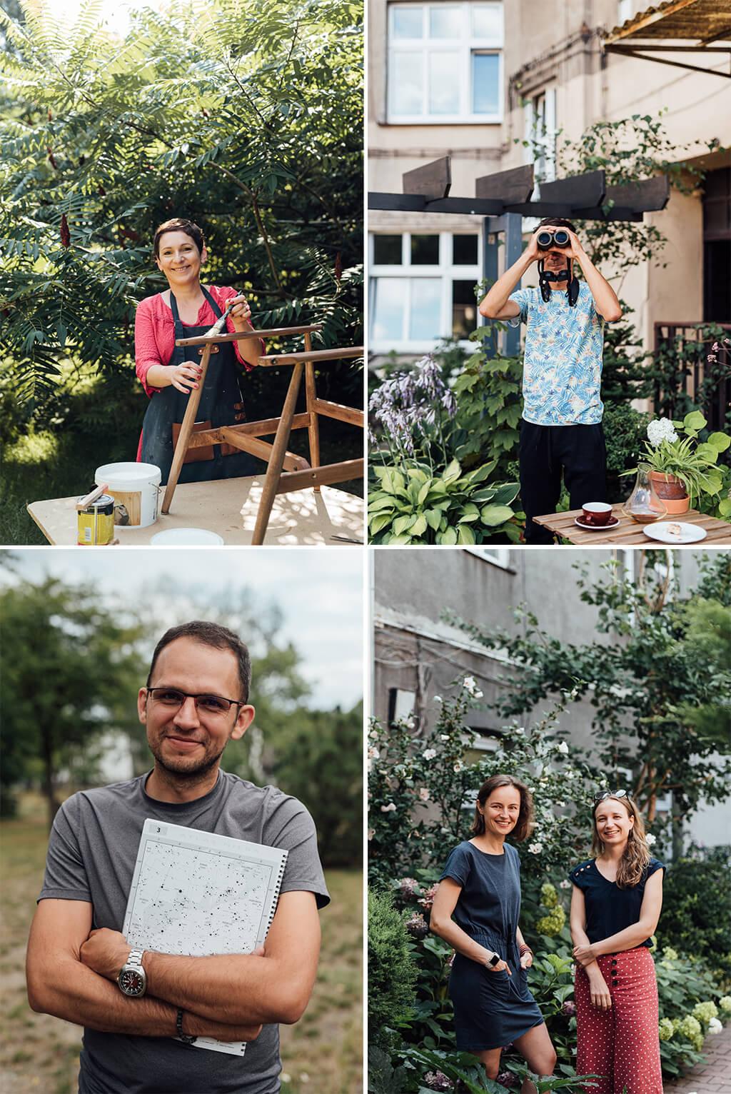 Kasia Sawko od renowacji mebli, Maciek od obserwacji ptaków, Radek od kosmosu, dziewczyny mają ogródek z warzywami w centrum Krakowa. Zdjęcia do książki Żyj z pasją. 13 inspiracji, jak ciekawie spędzać czas wolny